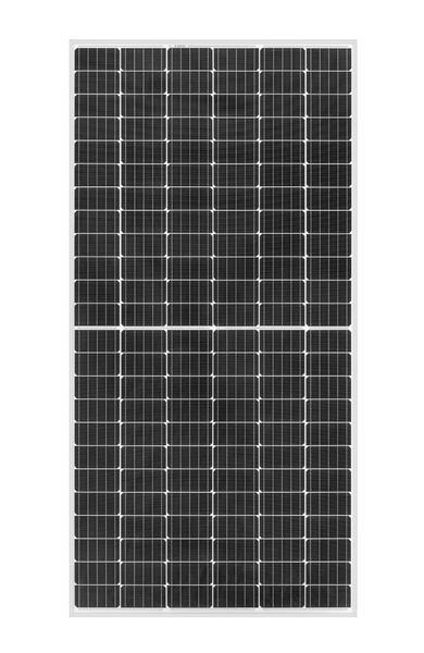 Portrait of REC TwinPeak 2S Mono 72 solar panel with 144 half-cut cells
